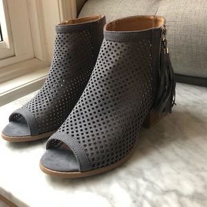 Open-toe Faux Suede Mesh Booties